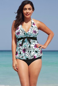 NEW Women's Halter Tankini Swimsuit - Teal/White/Black - $30 OBO