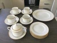 NORITAKE BONE CHINA WHITE TEASET WITH CAKE PLATE,SIDE PLATES,CUPS,SAUCERS AND SUGAR BOWL