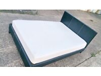 Double faux leather bed and foam mattress - can deliver