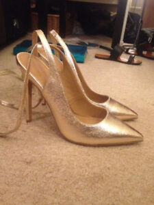 ASOS - UNWORN GOLD TIE UP HEELS