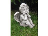 Stone garden angel statues, fantastic detail. New