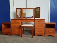 McINTOSH ORCHARD DRESSING TABLE AND BEDSIDE CABINETS AND STOOL RETRO BEDROOM SET DELIVERY AVAILABLE
