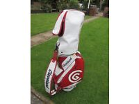 Red and white trolley golf bag. Cleveland