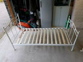 Next white metal single bed frame