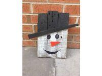 Rustic Wooden Snowman Decoration