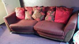 Red 4 seater and love chair