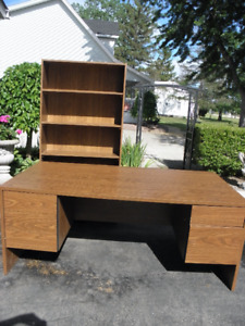 Large solid wood office desk and book shelve