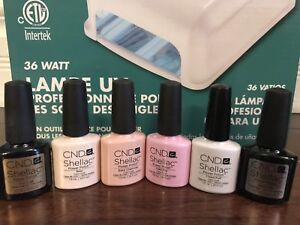 CND Shellac Kit (Lamp, Topcoat, Basecoat and 4 Colors)
