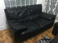 QUICK SALE: TWO & THREE (2 & 3) SEATER REAL LEATHER SOFA SET (BLACK)