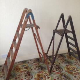 2x sets of wooden stepladders.
