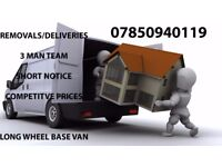 Removals/Deliveries - 3 man team/short notice/competitive prices/fast service