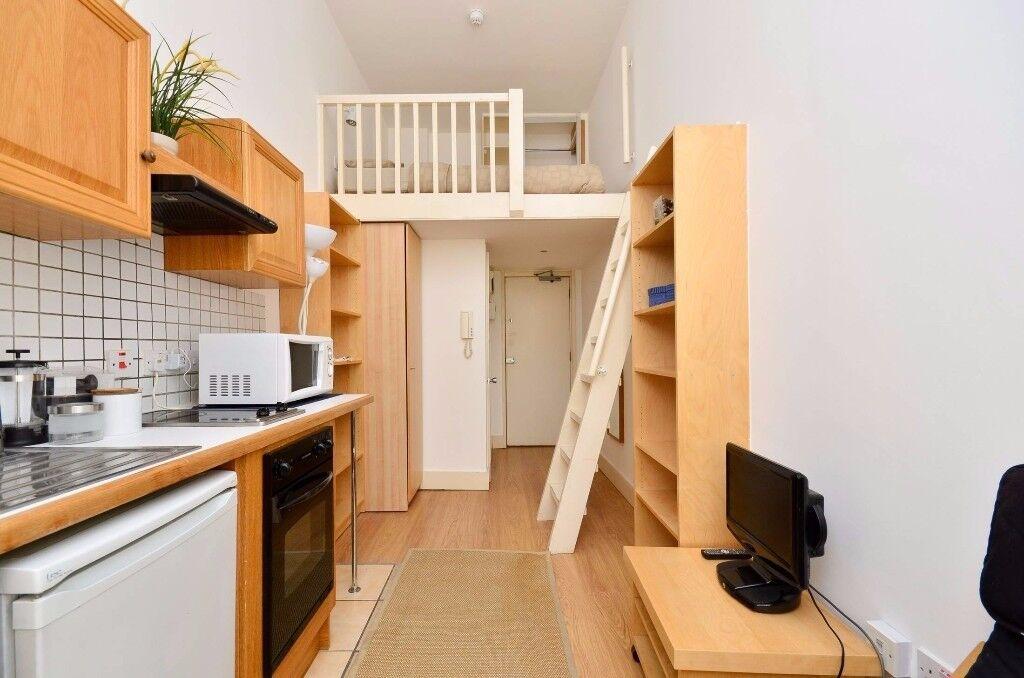 Mezzanine Sleeping Area studio with open plan kitchen, en-suite shower/wc and mezzanine