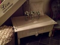 Large solid wood shabby chic cream coffee table £50 ono