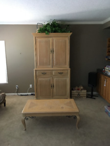 Coffee table, sofa table, two end tables and hutch.