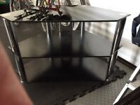 Two tier , Black glass TV stand with chrome fittings