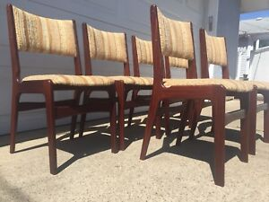 Set of Six Mid Century Solid Rosewood Chairs