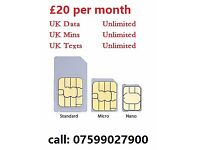 ★★★sim card £20 per month unlimited call + unlimited data 4g