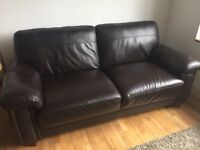 real leather dark brown 2 seat sofa for sale in very good condition