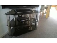 Corner TV stand - quality unmarked 3 black glass shelves and chrome pillars
