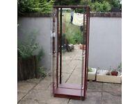 Tall Glass Display Cabinet WITH SHELVES Dark Wood Effect Working Light Storage Double Door