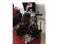 Set of LEFT-HANDED Founders golf clubs with bag, stand, plus balls /tees / leather gloves /trolley