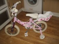 Girls/Toddlers Bike With Stabilisers Excellent Condition.