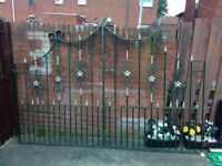 Heavy duty Wrought iron gates built to last 9ft wide 4ft either side 6ft in middle with hinges.
