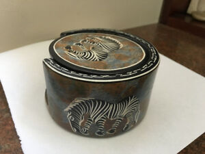 African Animals Carved Soapstone Drink Coasters