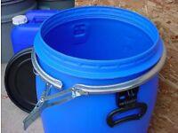 60 litre blue plastic clip top drum - brand new