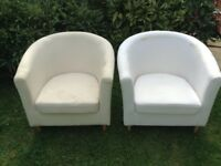 IKEA tub chairs, used and in need of some TLC, but can be reupholstered or cover with throws.