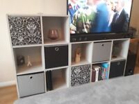 Display / storage shelving in grey. 2 x units with decorative box inserts.
