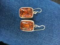 New Real silver and Amber earings