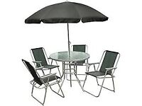 Garden Table, 4 Chairs and Parasol