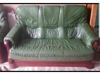 Leather wooden carved base sofa set