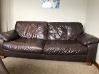 Brown leather sofa x 2 will reduce for quick sale