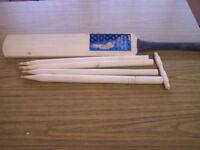 wooden cricket bat and stumps set