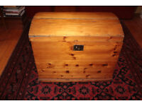 Unusual large Victorian Antique Pine domed lid Kist Trunk blanket Box
