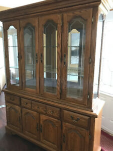 Oak China Cabinet and Hutch for sale