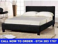 Double Faux Leather Bed