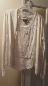 White top w/cardigan