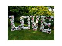 💖 STUNNING 4FT FLORAL LOVE LETTERS for WEDDING HIRE 5ft POST BOX @ MIRROR FRAME PACKAGE!