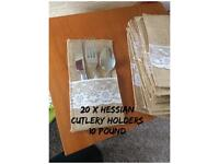 Hessian cutlery holders - perfect for weddings or outdoor parties