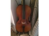 7/8 Superior Cello & Bow w/ Case, Stand, Strap & spare Jargar strings