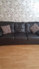 3+2 brown leather sofa.
