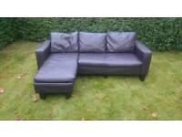 Dark brown corner leather sofa (free delivery)