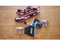 2 Yamaha drum tuning keys in wallets, along with Vic Firth lanyard to keep tidy and safe