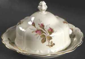 EXTREMELY RARE ROSENTHAL MOSS ROSE 2PC COVERED BUTTER DISH -MINT