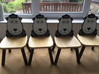 4 solid wood toddler 'sheep' chairs