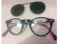 Oliver Peoples Gregory Peck spectacles with clip on polarised flip up