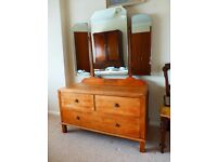 Victorian Oak Dressing Table with 3 drawers
